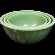 Vintage Fire-King Jadite Green Swirl Nesting Mixing Bowls 3 Piece Set