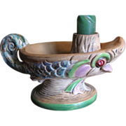 Great Czechoslovakian Espaxa Art Pottery Candle Holder