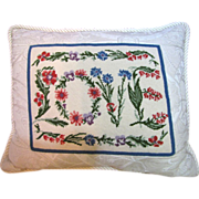 "Beautiful Quality Wool Needlepoint ""Love"" Pillow"