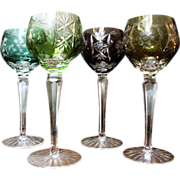 Set of 4 Harlequin Cut-to-Clear Wine Goblets, Western German
