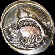 """1975, """"Jaws"""" Round Brass Belt Buckle"""