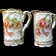 Pair of Antique Gilt Floral Decorative Pitchers