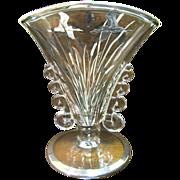 Art Deco Sterling Overlay Fan Vase with Egret Decoration