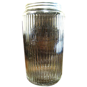 1930's or 40's Hoosier Glass Canister Jar with Aluminum Lid