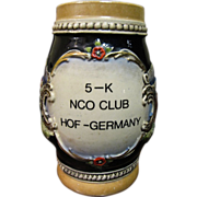"German Stein with ""5-K NCO Club Hof Germany"", 1 1/2 ltr"