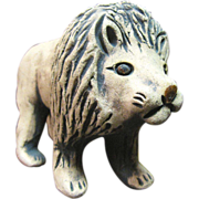 Charming Whimsical Hand Made Pottery Lion Figurine