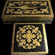 Matched Mid Century Italian Florentine Tissue & Dresser Box