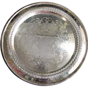 "Elegant 12 1/4"" Diameter Ornate Silver Plated Tray by Wm. Rogers"
