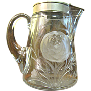 Circa 1910 Heisey Etched Glass Rose Design Syrup Pitcher
