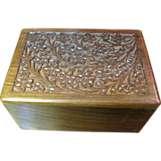 Chess Piece Storage Box, Carved Wooden with Sliding Base