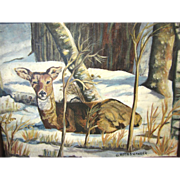 Vintage Painting of Deer in Winter Woods, G. Roth Swanger