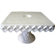 Indiana Milk Glass Colony Pattern Pedestal Cake Stand w/ Rum Well