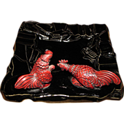 Vintage Mid Century Modern Black Ceramic Ashtray with Fighting Cocks