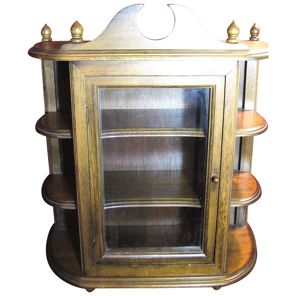 Extra Large Wood Table Top or Wall Mount Curved Display Cabinet