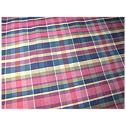"60"" Remnant of Mid Weight Plaid Upholstery Fabric, Sturdy!"