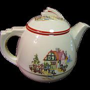 Art Deco Teapot, Petit Point Design by Crooksville