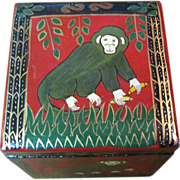Kashmir Hand Painted Cube Box, Fun Monkey Design!