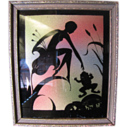 Art Deco Silhouette Fairy & Frog Reverse Painted Glass Picture