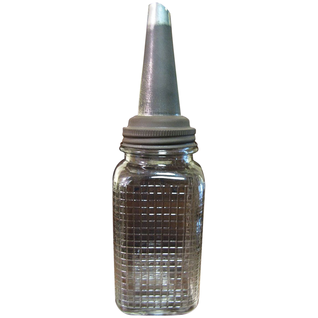Glass motor oil bottle