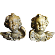 Pair Hand Carved Hardwood Italian Winged Cherubs