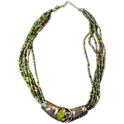 Seed Bead Necklace with Enameled and Rhinestone Enhancer