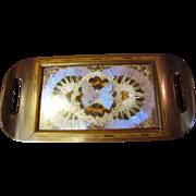 Stunning Brazilian Butterfly Wing Hardwood Inlaid Tray