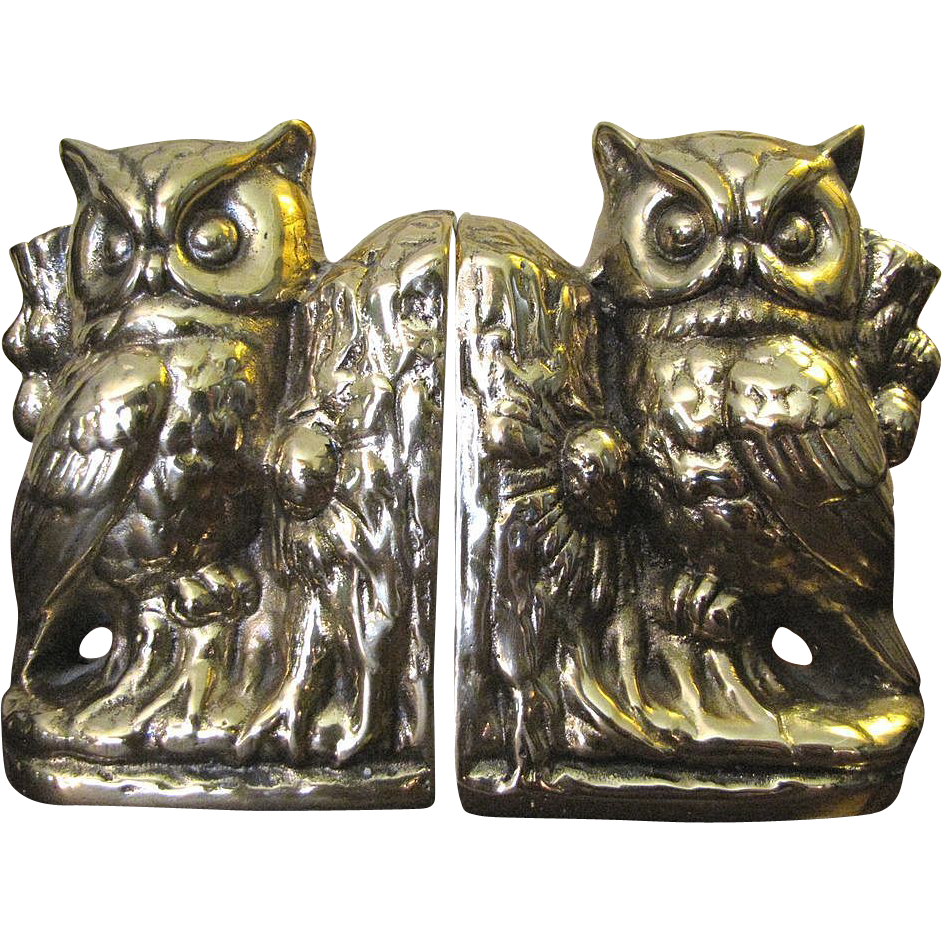 Super vintage owl heavy cast brass bookends from faywrayantiques on ruby lane - Antique brass bookends ...