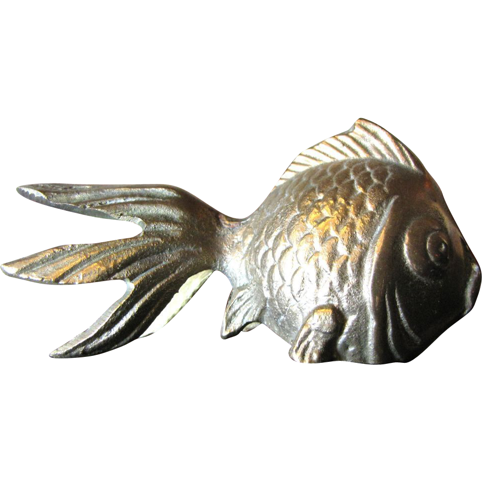 Super cast brass koi fish ornament or paperweight sold on for Koi fish ornament