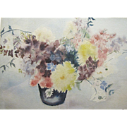 Large Floral Still Life, Vintage Watercolor by Mary May