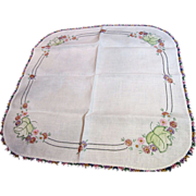 """Lovely 22"""" Square Table Topper, Applique & Embroidery"""