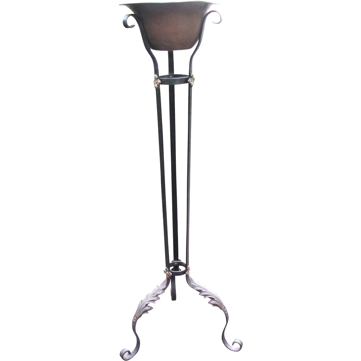 antique wrought iron plant stand original poly chrome