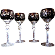 "Four Superb Ruby Cut to Clear 8"" Hock Wine Glasses"