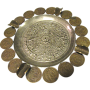 Mid Century Mexican Coin Ashtray with Aztec Motif