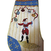 Whimsical Juggling Jester Needlepoint Stocking