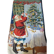 Cheerful Santa Decorating Tree Wool Needlepoint Stocking