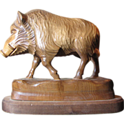Exceptionally Well Carved Hardwood Wild Boar