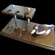 Vintage 3 Pipe Rack, Carved Wood Mallard Duck, Brass Beak