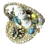 Adorable 50's Santa in Basket Ornate Tree Ornament
