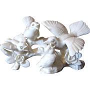 Pair Beautiful White Porcelain Bird Figurines, Cardinals, Orioles