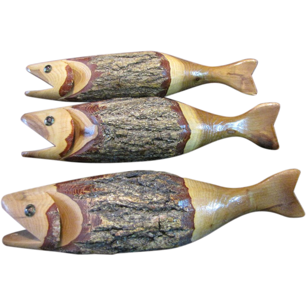 Hand carved amercian folk art primitive wooden fish sold