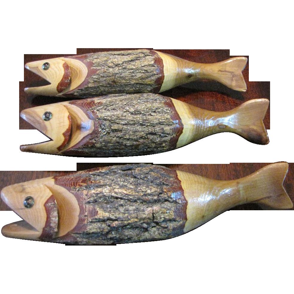 3 hand carved amercian folk art primitive wooden fish sold for Fish wood carving
