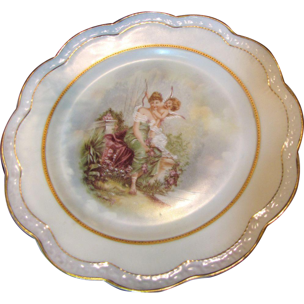 Beautiful Hand Painted Bavarian Cabinet Plate Lady