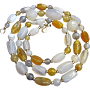 "Beautiful Vintage Polished Agate Gemstone 30"" Necklace"