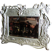 Large Antique Art Nouveau Silver Gilt Mirror, Wall or Stand