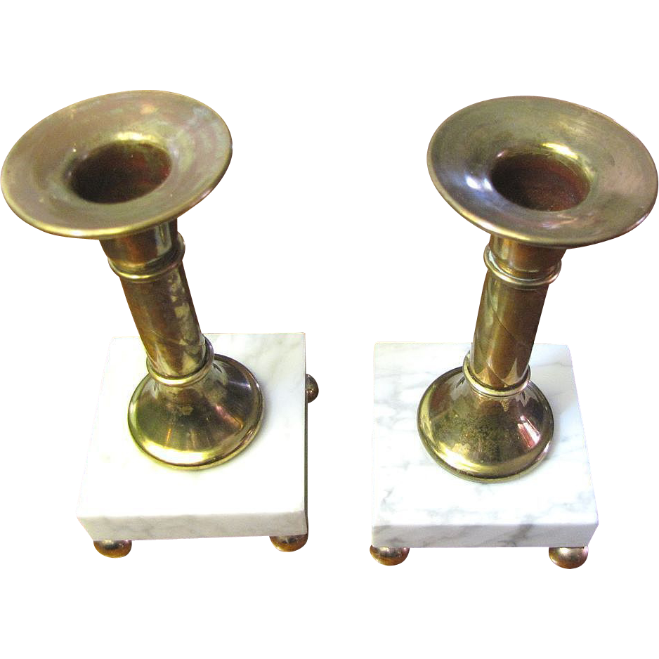 Pair of Elegant Brass & Marble Vintage Candle Holders