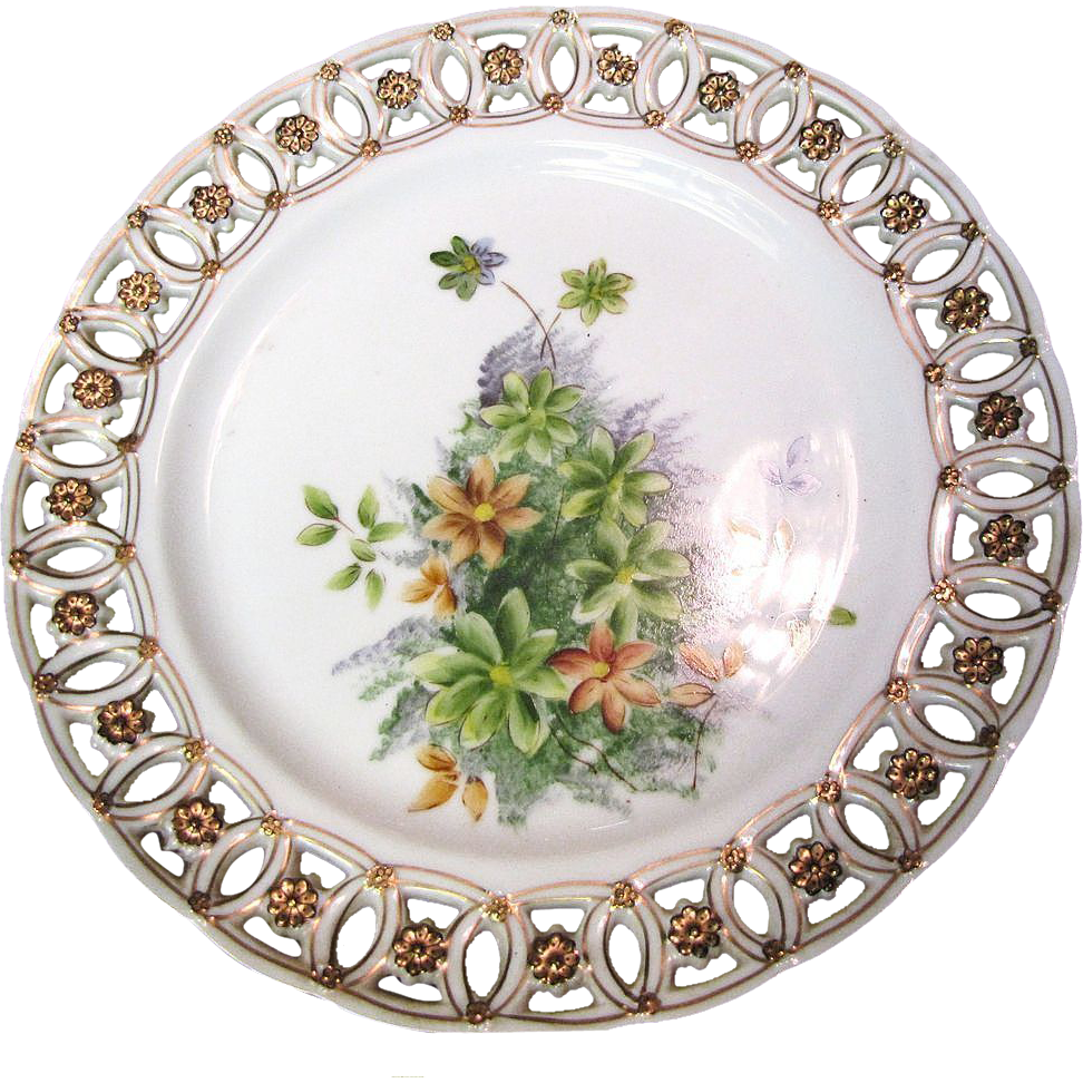 Beautiful Hand Painted Botanical Reticulated Cabinet Plate