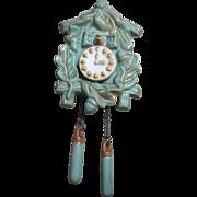 Super Cute Vintage Ceramic Cuckoo Clock Wall Pocket