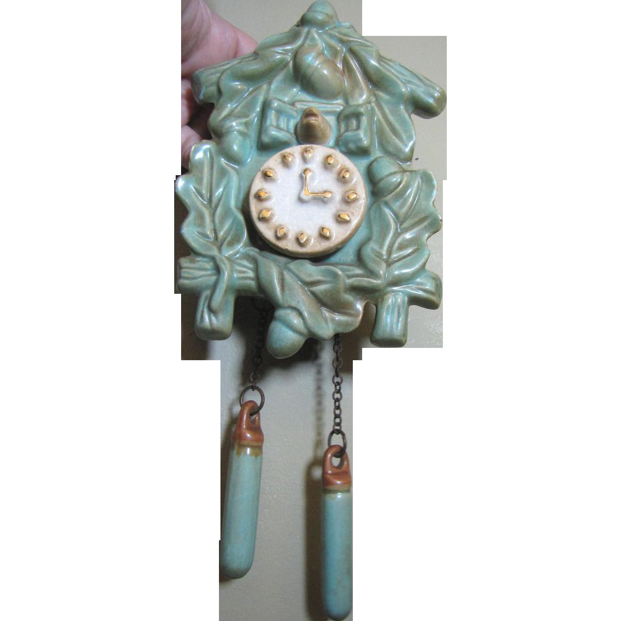 Super Cute Vintage Ceramic Cuckoo Clock Wall Pocket From