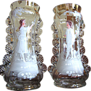 The Prettiest Antique Mary Gregory Vases, Crimped Edges, Colored Images!