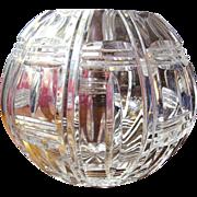Large Prismatic Lead Crystal Rose Bowl